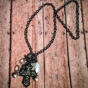 Nwt Handcrafted Gun Metal Chain W/Cross Necklace
